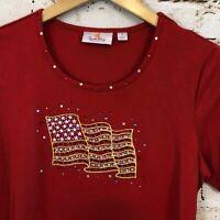 Quacker Factory shirt womens small top flag stars stripe patriotic Bling BX3