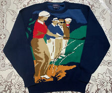 Vtg 90s Mens Navy Hathaway Graphic Golf Sweater Hand Intarsia Indonesia M