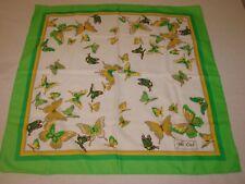 "Womens  Nice VTG Joli Ciel Green/Yellow Butterfly Scarf  27"" x 27"""