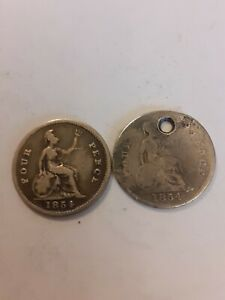 2 x 1854 Silver Queen Victoria Fourpence Four Pence Groat