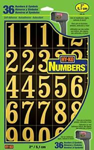 "Self-Stick Numbers, 2"" Black & Gold"