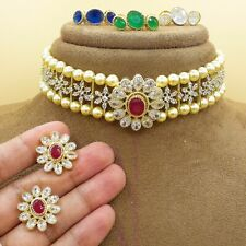 Bollywood Indian Kundan Pearl Choker Necklace Earrings CZ AD Gold Plated Jewelry