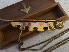 Boatswain Pipe ~ Brass & Copper Ships Whistle W/ Brass Anchor Wood Box