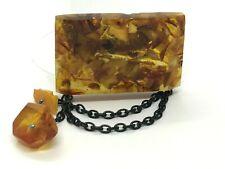 Old Vintage Amber BROOCH Antique Pressed Natural Baltic Amber Beads 15,6g 9758