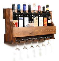 Wall Hanging Wine Rack,Glass Holder, Rustic modern wall mounted wine rack