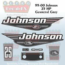 1999-00 Johnson 25 HP Gunmetal Grey Outboard Reproduction 9Pc Marine Vinyl Decal
