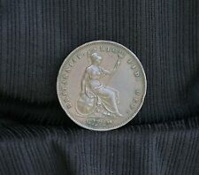 1853 Great Britain Penny Copper World Coin Seated UK England Trident b