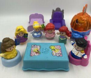 Little People Disney Princess Lot Tangled Ariel Aurora Cinderella Prince Throne