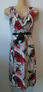 JACQUI E White/brown/red patterned dress with ribbon. Size 6. Made in Australia