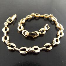 FSA376 GENUINE REAL 18K YELLOW GF GOLD DIAMOND SIMULATED ANTIQUE TENNIS BRACELET