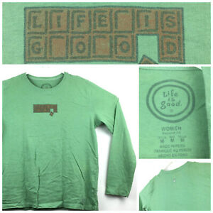 Life is Good Womens Medium (41 in Bust) Green 'Chocolate' Logo Cotton LS T-Shirt