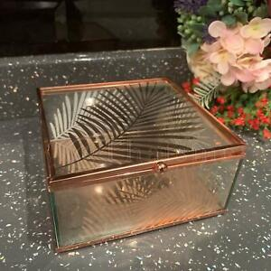 Leaf Rose Gold Glass Trinket Mirror Base Jewellery Square Box Display Clear Box