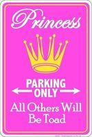 PRINCESS PARKING ONLY / No Trespassing  /  8x12 metal sign  /