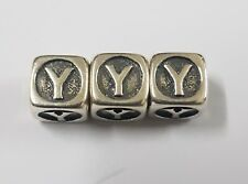 Handmade,925 Sterling Silver Square Cube LETTER Alphabet Y. Bead Charm Pendant.
