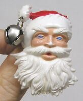 Vintage Jewelry Plastic Christmas Brooch Santa with Jingle Bell on Hat 1960s