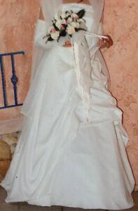 Brautkleid Weise A-Linie Ivory trägerlos schlicht elegant Hochzeit- Gr. 40