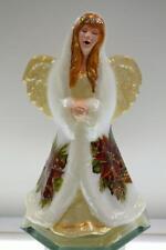 Fenton ANGEL Opal White Satin POINSETTIA, PINECONE, HOLLY OOAK FreeUSAship