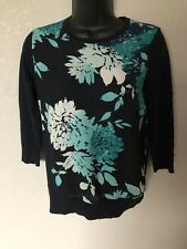 Ann Taylor Blue Floral 3/4 Sleeve Scoop Neck Sweater Size X-Small