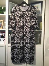 """Q45 Originals Plus Sz 20 Black&Grey Floral 47""""Long Soft Jumper Dress"""