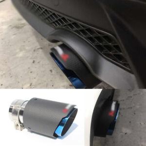 Light/Matte Real Carbon Fiber Blue Steel End Autos Exhaust Muffler Tip Pipe 63mm