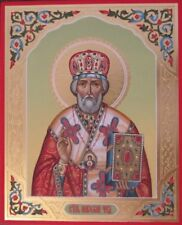 Icon of St. Nicholas the Wonderworker with gilding and carvings