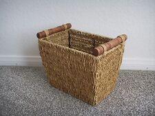 NEW Natural Seagrass Wicker Magazine Storage Basket Bin w/ Wood Handle