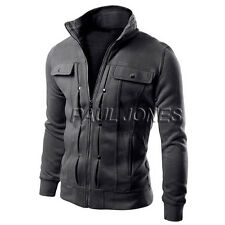 Mens Stylish Casual Stand Collar Coat Tops Jacket Winter peacoat  Blazer Zipper