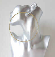 Gorgeous HUGE 12cm GOLD tone BIG plain wire hoop earrings LARGE - MASSIVE HOOPS!