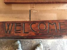 Mission Cherry StainedSign Carved Welcome Craftsman Style