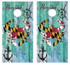 Maryland Blue Crab Themed Cornhole Board Wraps  FREE LAMINATE  #3923