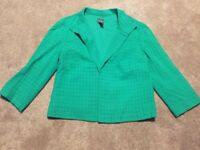 Womens Chico's Travelers Collection Kelly Green Blazer Jacket Coat Size 0