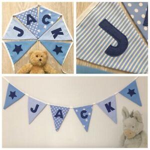 PERSONALISED FABRIC BUNTING BIRTHDAY BOY nursery Baby Blue w/navy £1.80 / letter