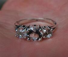Fine 925 Sterling Silver Ring with a 6mm and two 4mm NY Herkimer Diamonds Size 7