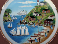 Collector Plate Seasons Summer 8.5in Sail Boats Beach Seaside Scene M Calzette