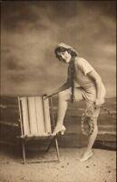 TUCK Carbonette #4557 The Hoiday Girl Bathing Beauty c1910 Postcard #1