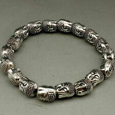 Old Collectibles Decorated Handwork Tibet Silver Buddha head Bracelet