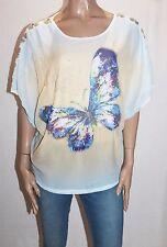 Elegant Brand White Chiffon Butterfly Short Sleeve Blouse Size XXL BNWT #SO95