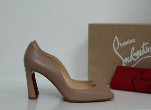New sz 6 / 36.5 Christian Louboutin Agneska Nude leather Wave Almond Pump Shoe
