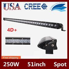 51'' Inch 250W Spot Single Row CREE LED Light Bar 4D Lens Offroad SUV RZR 4X4 50