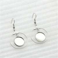 6pcs Stainless Steel Sliver Blank Cabochon Earring Base DIY Earrings Hooks