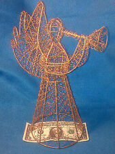 "11"" CURLY GOLD WIRE ANGEL-Table Top+Tree Topper-Trumpet Horn-Christmas Holiday"