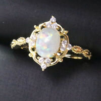 2.25 Ct Oval White Opal Solitaire Ring Women Jewelry Gift 14K Yellow Gold Plated
