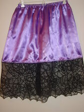 "Halloween purple satin half slip spider web trim 25""-54"" waist sissy-XXL 1X 2X"