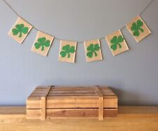 St Patrick's Day Good Luck Four Leaf Clover Bunting Banner Hessian Burlap