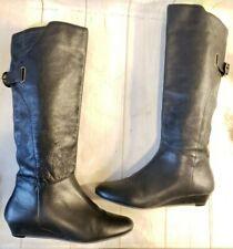 "Steven by Steve Madden ""Iden"" Knee High Boots Black Pebbled Leather Women Sz 6.M"