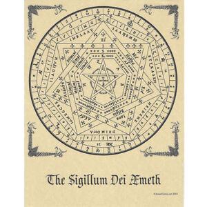 "Sigillum Dei Aemeth Poster 8.5 x 11"" Parchment Print NEW Enochian Seal Symbol"
