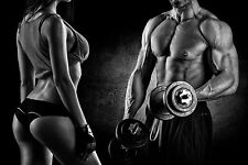 SUPERB SEXY COUPLE GYM FITNESS DUMBBELLS CANVAS #534 QUALITY A1 CANVAS PICTURE