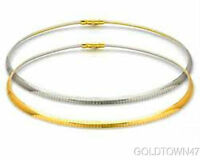 14k Yellow Gold+Silver  One Side Yellow Gold+Reverse Side Silver Omega Necklace