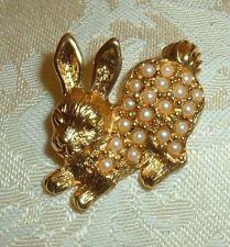 Vtg Avon Gold-tone Rabbit Push Pin, Hat, Tie or Lapel Pin Faux Pearls Detailed !