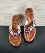 SAM EDELMAN ROSA Womens Sz 9.5 M Beads Flip Flop Thong Platform Wedge Sandals